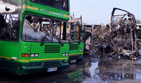 Fire destroys 35 buses at depot in Cornwall