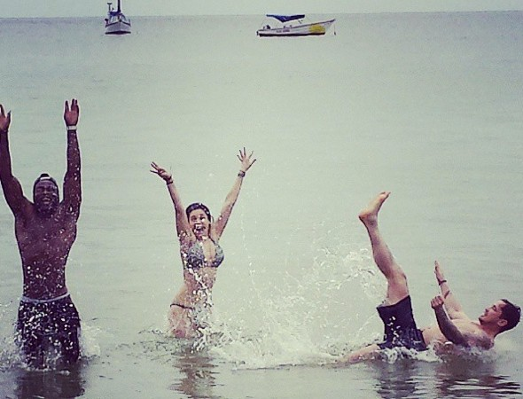 Kelly Brook has a splashing time in Tobago with Danny Cipriani