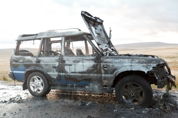 Woman's lucky escape as car catches fire driving through beauty spot in Wales