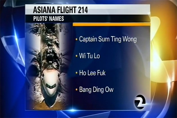 Asiana Airlines could sue TV channel over fake and racist names of pilots