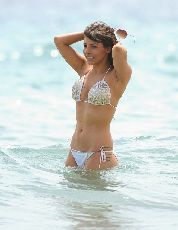 Roxanne Pallett hits the beach in Spain