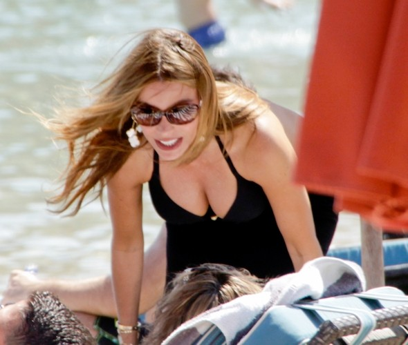 Sofia Vergara works the cutout swimsuit trend in Greece