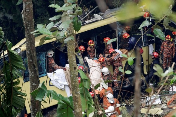 37 killed as  bus plunges in ravine in Malaysia's deadliest road accident