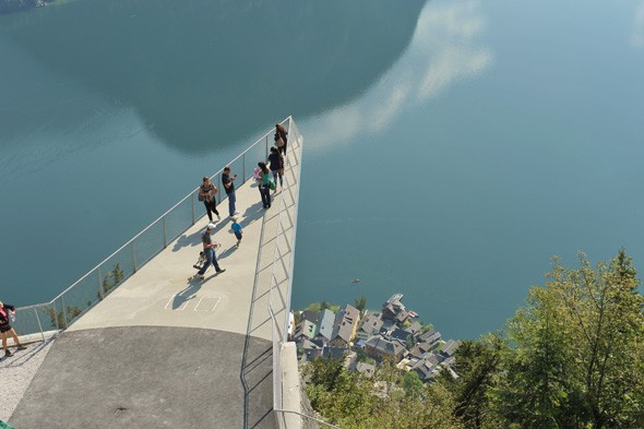 Brave tourists take in the breathtaking views from new Austrian platform