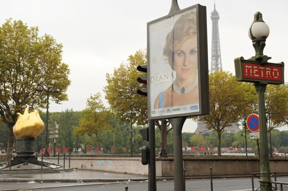 Outrage after poster advertising Diana film placed at fatal crash site in Paris