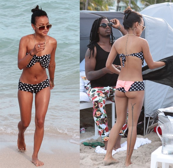 Chris Brown's girlfriend Karrueche Tan wears tiny bikini on Miami beach