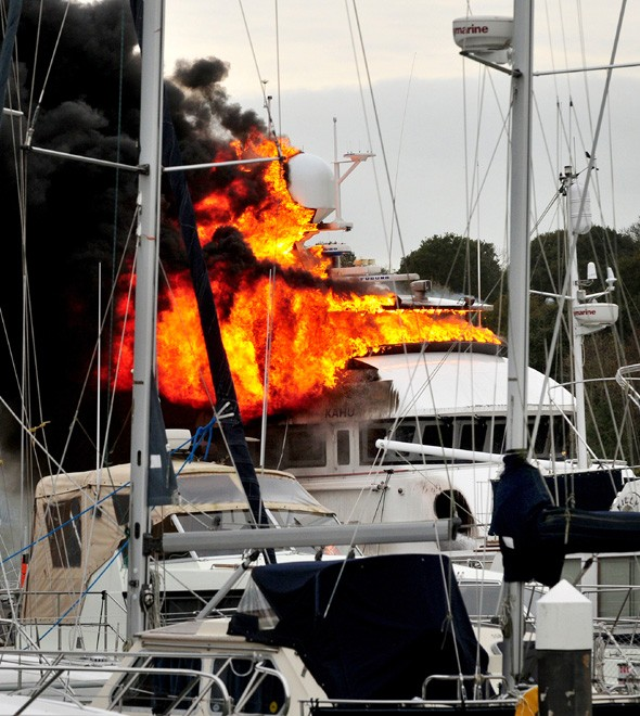 Pictures: Superyacht goes up in flames on the Isle of Wight
