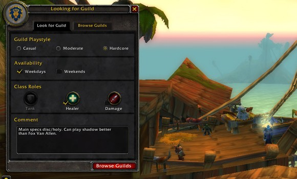 Screenshot of the looking for guild interface, complete with snarky comment.