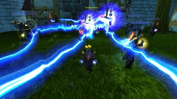 Multiple chain lightning effects surround a dwarf shaman