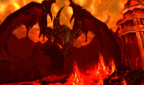 Deathwing over Mount Hyjal.