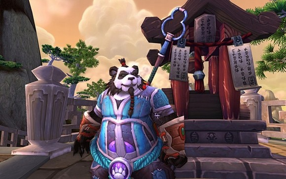 Pandaren mage in blue and purple robes