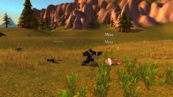 A low level tauren monk jabbing a cougar