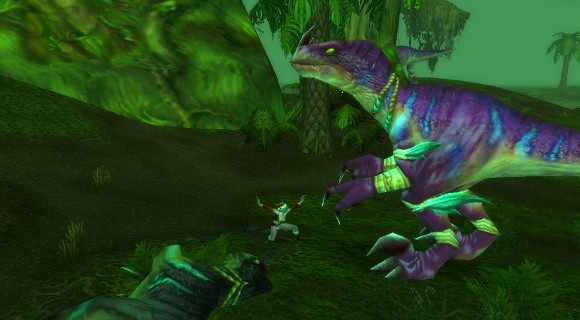 nelf figting dinosaur in christmas outfit