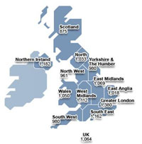 map of UK showing savings by region