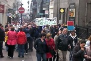 protesters marching