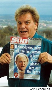 Freddie Star holds Sun with anti Neil Kinnock headline: Wil the last person to leave Britain please turn out the lights