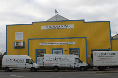Sofa King premises and vans bearing the slogan: