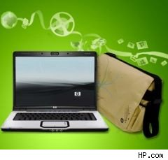 HP laptop with recycled messenger bag