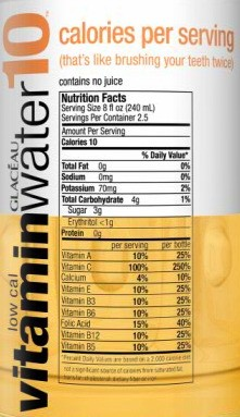 Vitamin Water 10 nutririon label