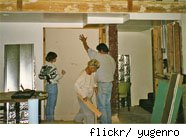 putting up drywall