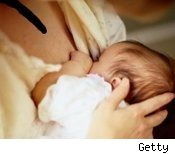 breastfeeding woman and baby