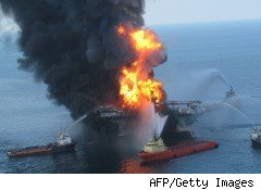 Oil rig fire in Gulf of Mexico