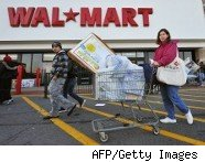 Woman shops at a Wal-Mart store