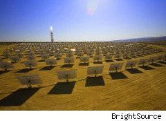 BrightSource plans to build 14 solar-thermal projects, like this one, around California.