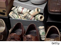 cash in shoe box