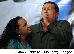 Venezuela's Hugo Chavez, pictured here with his daughter, tweeted news of a $40 billion oil deal, bypassing the press to go directly to the people.
