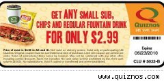 Quiznos coupon