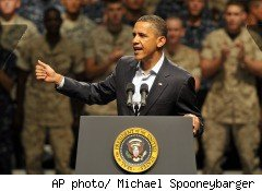 President Barack Obama speaks to troops in Pensacola, Fla., on June 15, 2010