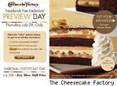Half-price cheesecake offer from the Chessecake Factory