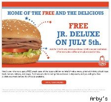Free Junior Deluxe Sandwich at Arby's