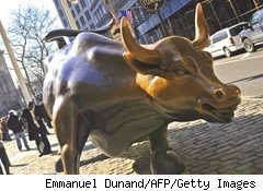 The bull is a symbol of a rising stock market