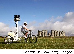 Google's Street Trike near Stonehenge, UK., with Street View cameras.