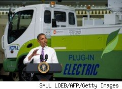 President Barack Obama spoke about the economy at Smith Electric Vehicles's plant Thursday.