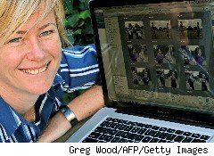 A social networking site user with her computer.