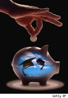 hand putting money into piggy bank - college tuition and scholarships