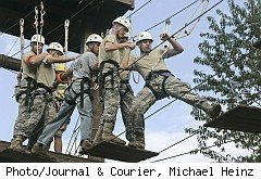ROTC crew walks ropes to build teamwork