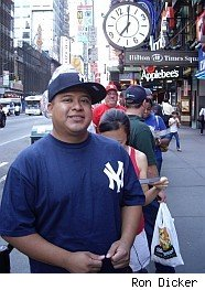 Yankee fan in ticket line
