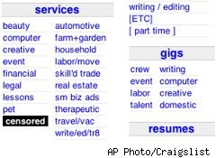 Craigslist has censored its adult-services listings after several state attorney generals asked it to move remove them.