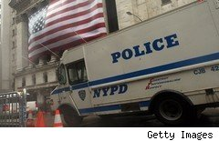 Police van on Wall Street