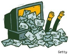 cartoon of spam out of a computer