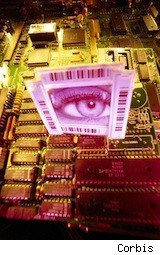 a photo collage for identity theft -- a big eye in a computer