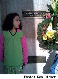 Eugenie Dicker at marilyn Monroe's grave - photo by Ron Dicker