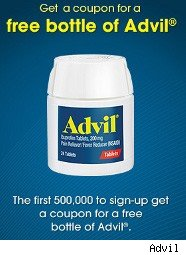 Advil ad for free bottle