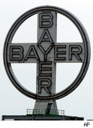 Sign outside Bayer headquarters in Germany