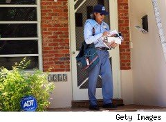 Mail carrier delivering letters