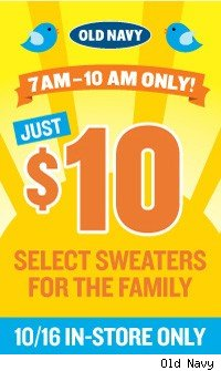 Old Navy $10 sweater sale this Saturday - AOL Finance